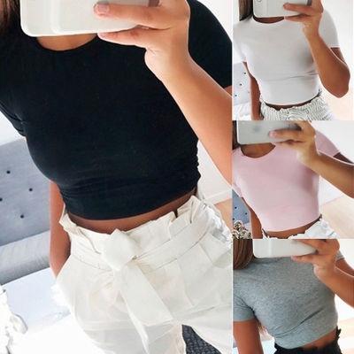 cute, Shorts, crop top, solidcolortop