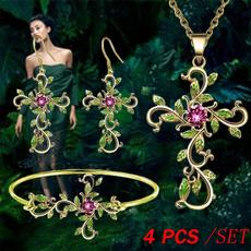 DIAMOND, leaf, Cross necklace, Cross Pendant