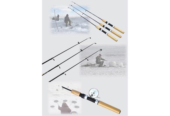 Telescopic Mini Ice Fishing Rod Fish Reels Tackle Rods Pole 55//65//75cm New