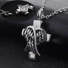 Steel, memorial, cremationashesjewelry, Angel