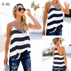 Women Vest, beachshirt, backless top, Stripes
