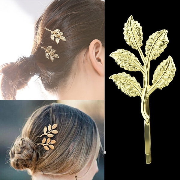 Barrettes, hairornament, hair jewelry, gold