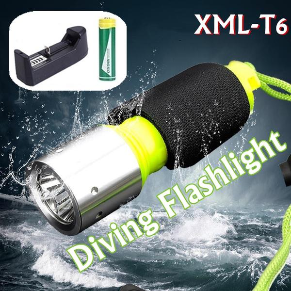 Flashlight, underwater, led, 18650