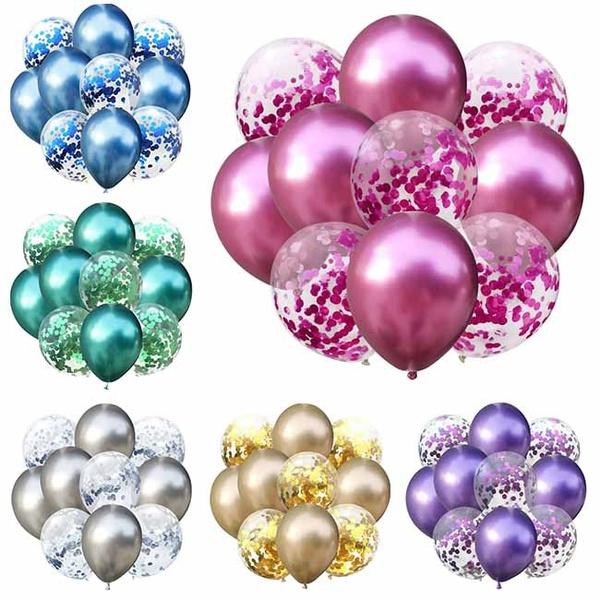 5pcs 10pcs 12inch Confetti Balloons Glossy Metal Pearl Latex Balloons Thick Chrome Metallic Colors Inflatable Air Balls Globos Wedding Kids Birthday Party Decor Supplies Wish