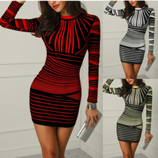 slim, Sleeve, slim long, women casual dress