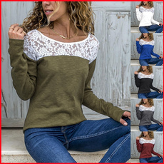 Plus Size, Lace, solidcolortshirt, Long Sleeve