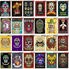 Decor, art, retrotinsign, skull