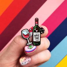 Heart, glasswinegla, Pins, winetime