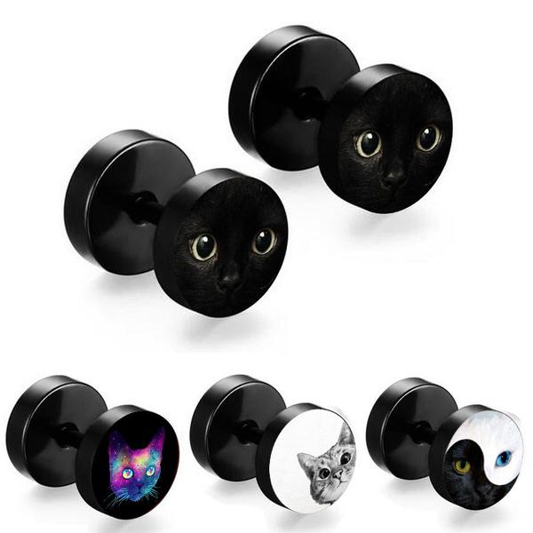 barbellearring, Black Earrings, stainless steel earrings, Jewelry