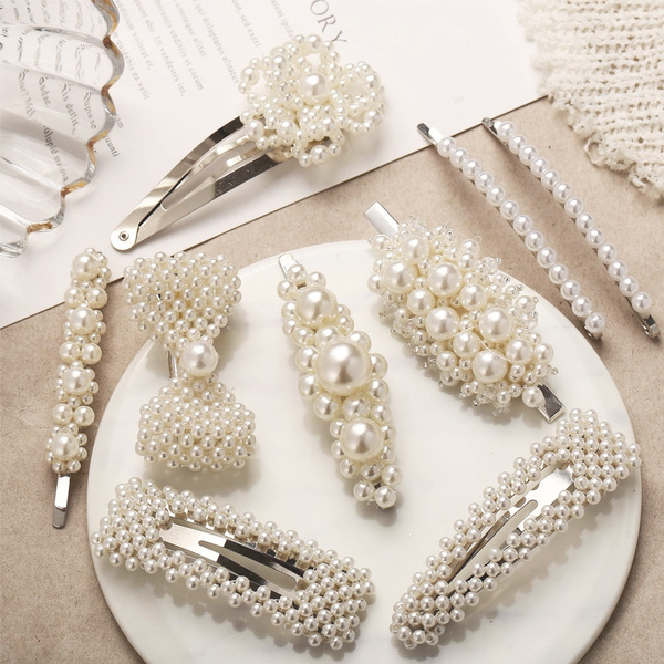 Fashion, snapbarrette, pearlhairclip, Women jewelry