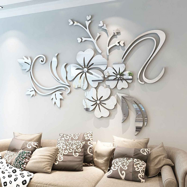3D Mirror Flower Art Removable Wall Sticker Acrylic Mural Decal Home Room Decor~