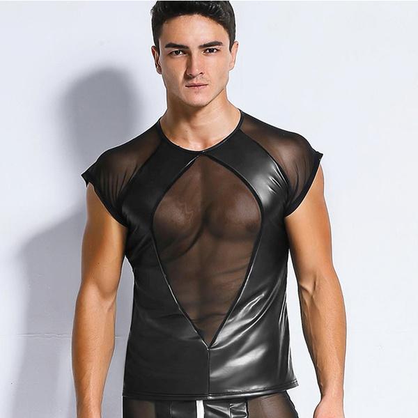 wetlooktank, Men, See-through top, fetishwear