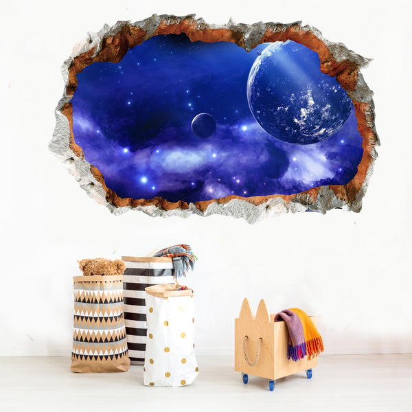 Blue Crack Outer Space 3d Wall Sticker Cosmic Galaxy Wall Decals For Kids Room Floor Decoration Blue Sky Ceiling Stickers Wish