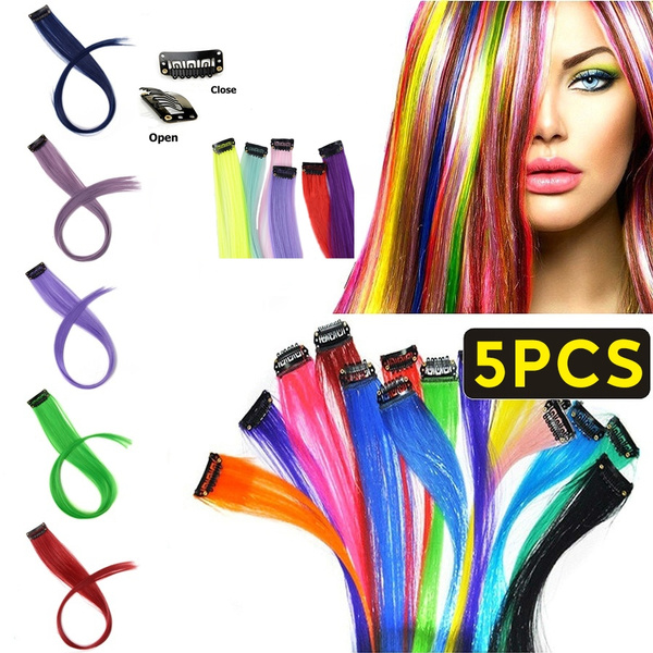 Blues, pink, Hairpieces, clip in hair extensions