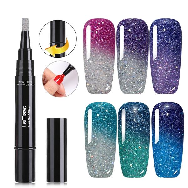 Lemooc Thermal Series Nail Polish Pen Dawdler Nail Gel Pen Holographic Temperature Color Changing Gel Nail Polish Pencil Nail Beauty Wish