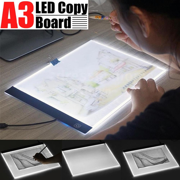 JIANGNIUS WritingBoard A4 Size 5W 5V LED Three Level of Brightness Dimmable Acrylic Copy Boards for Anime Sketch Drawing Sketchpad with USB Cable /& Plug Size:240x360x5mm