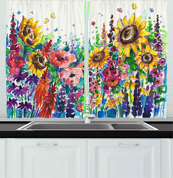 Kitchen Decor Collection Floral Watercolor Style Wildflowers Country Kitchenware Flowers Art Print Window Treatments For Curtains 2 Panels 80x72 Inches Yellow Purple Red Green Wish