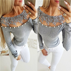Beading, Lace, Hollow-out, Long Sleeve
