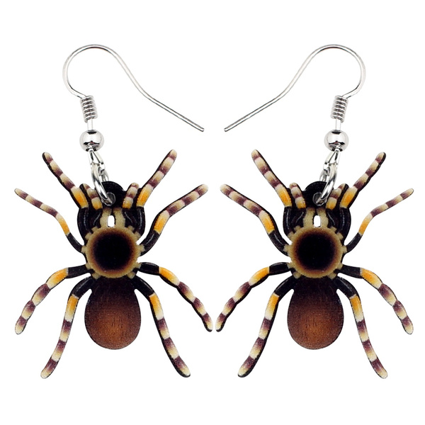 halloweenearring, spiderearring, brown, Halloween
