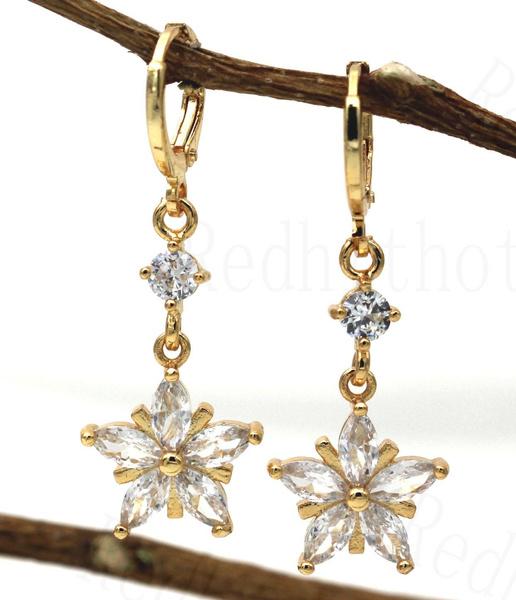 yellow gold, Clover, Flowers, Dangle Earring