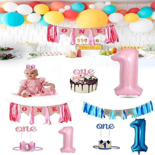 Baby 1st Birthday Boy Girl Decorations With Crown Baby Boy Girl First Birthday Decorations High Chair Banner Cake Smash Party Supplies Happy Birthday One Burlap Banner No 1 Crown Glitter Cake Topper
