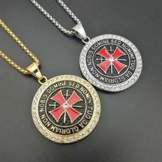 knightstemplar, punk necklace, Jewelry, Cross Pendant