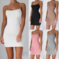 Stretchy Summer Womens Spaghetti Strap Tank Tops Slip Mini Dress Camisole VEST H