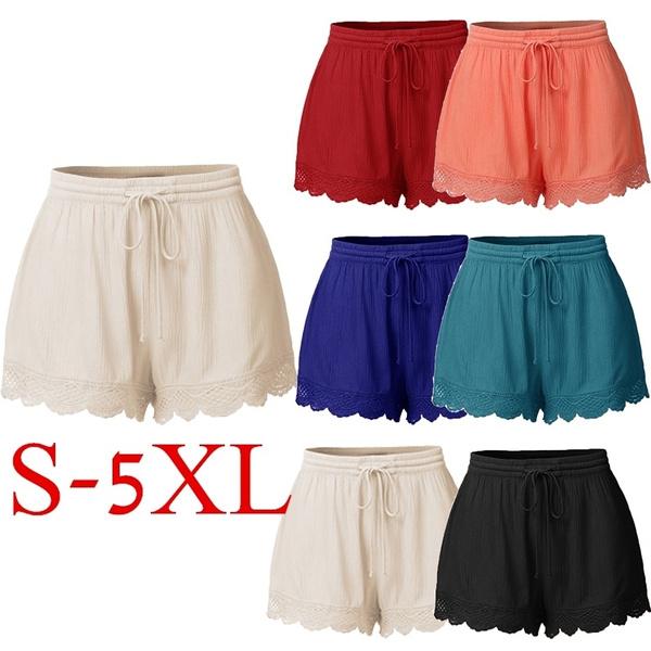 Summer, elastic waist, solidshortpant, Lace