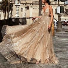 gowns, floorlengthdres, Necks, Deep V-neck Dress
