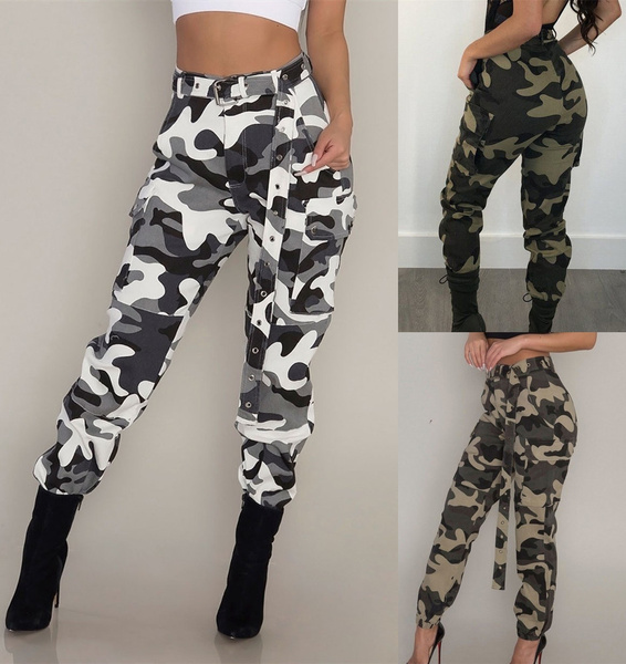 Womens Camouflage Pants Camo Cargo Trousers Ladies Casual Military Army Combat