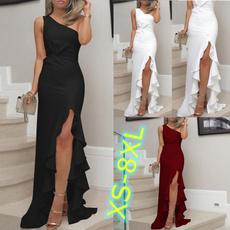 white dress, ruffle, one shoulder dress, long dress