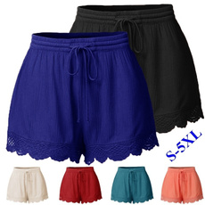 Lace, Summer, elastic waist, womenshortpant