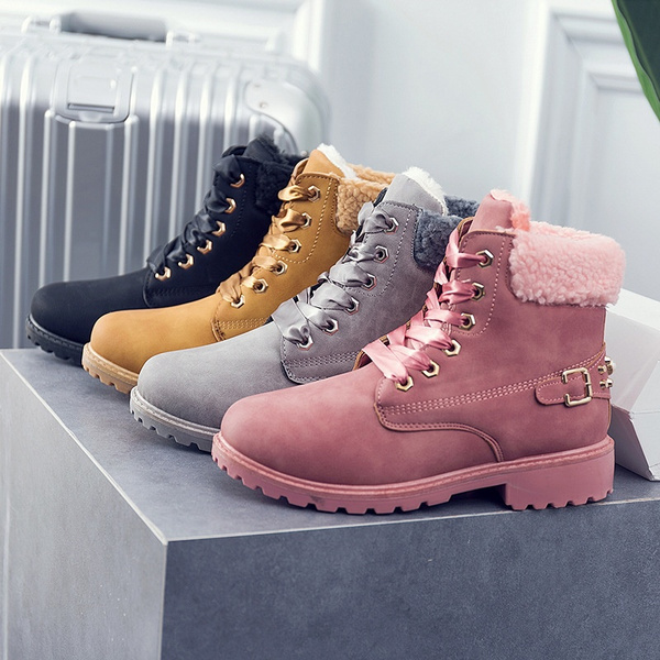 ankle boots, pink, Plus Size, shoes for womens