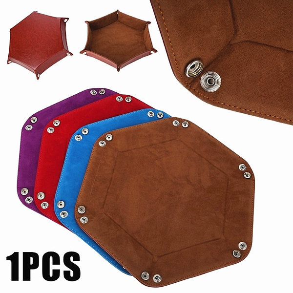 Dice Tray Hexagon PU Leather Collapsible Rolling Storage Box Tray for Board Game