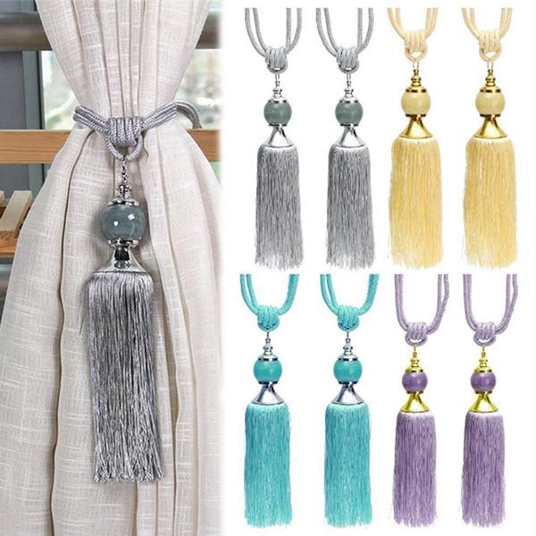 2Pcs Hanging Curtain Holdbacks Rope Tie Backs Tassel Tiebacks Beaded Home Decor