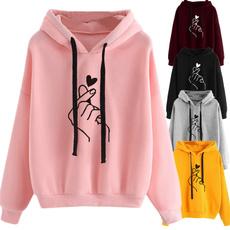 women pullover, Heart, hooded, Tops & Blouses