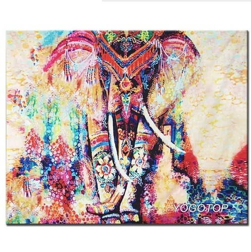Rewekold DIY Elephant-Pattern Rhinestone Painting Home Living Room Decor Cross-Stitch