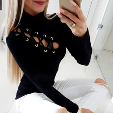 blouse women, Sexy Top, Hollow-out, Long Sleeve