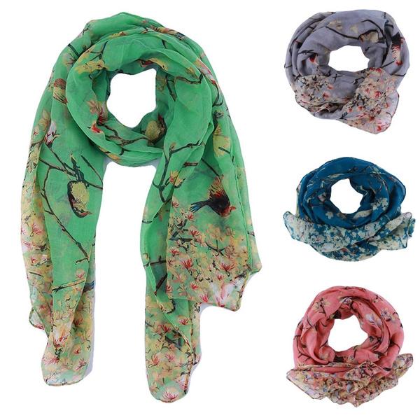 Scarves, women scarf, Shawl Wrap, longprintsilkscarve