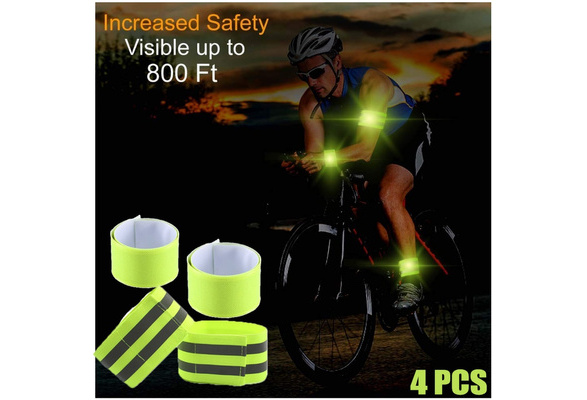 4pcs Durable Safety Reflector Tape Straps Safety Bands for Walking
