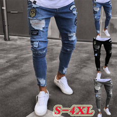 men jeans, biker, zipperpant, holepant