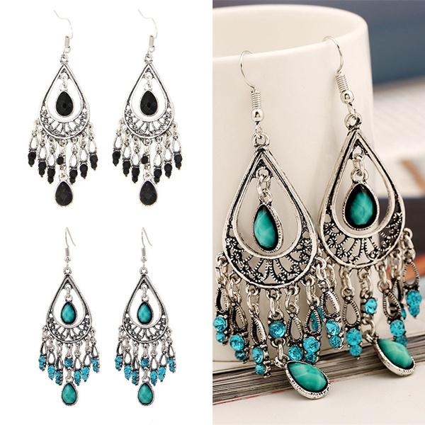 ethnicearring, crystal pendant, Fashion, Dangle Earring