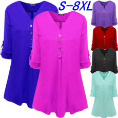 Plus Size, chiffon, Long Sleeve, V-neck