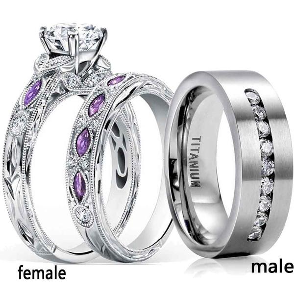 Couple Rings, Steel, whitegoldring, wedding ring