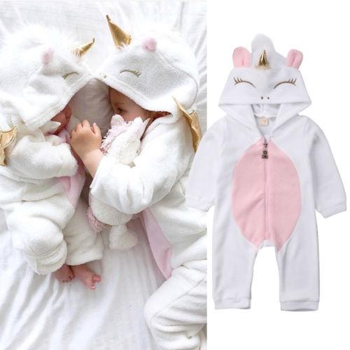 Rompers, hooded, unicornclothe, babyromper