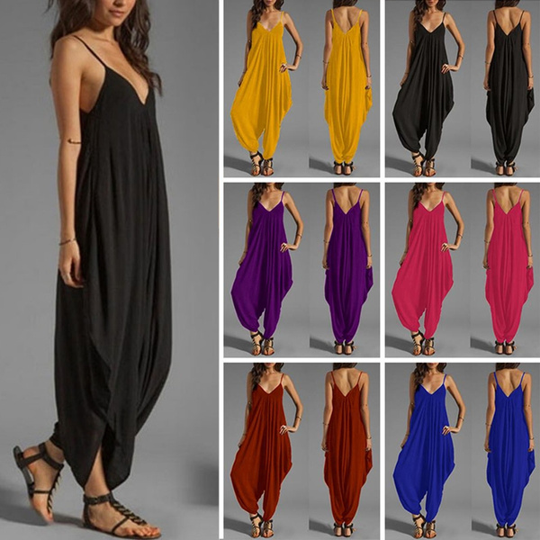 Deep V-Neck, Summer, Women Rompers, Plus Size