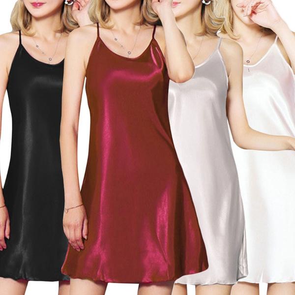 Mini, backlessnightgown, sexynightgown, Deep V-neck Dress