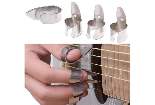 3Pcs Metall Ukulele Banjo Guitar Finger Picks Und 1Pcs Thumb Pick Plektren X4O6