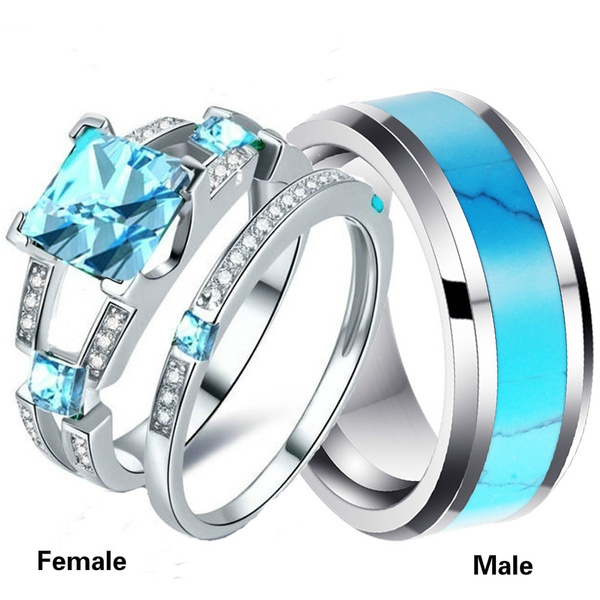 Couple Rings, Steel, Engagement Wedding Ring Set, 925 sterling silver