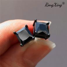 Mens Earrings, Black Earrings, Square, Jewelry